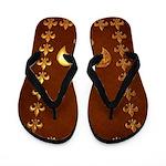 Old Leather with gold Fleur-de-Lys Flip Flops