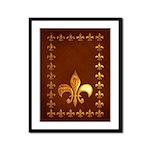 Old Leather with gold Fleur-de-Lys Framed Panel Pr