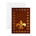 Old Leather with gold Fleur-de-Lys Greeting Cards