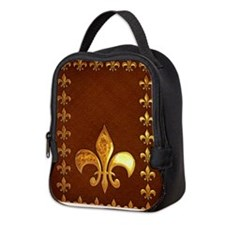 Old Leather with gold Fleur-de-Lys Neoprene Lunch