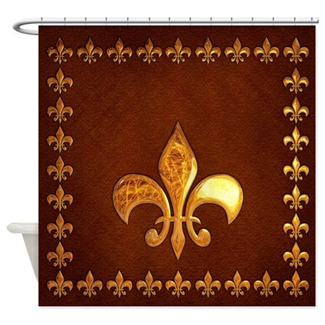 Old Leather With Gold Fleur De Lys Shower Curtain By Phantasmdesigns