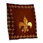 Old Leather with gold Fleur-de-Lys Burlap Throw Pi