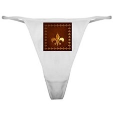 Old Leather with gold Fleur-de-Lys Classic Thong