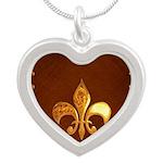 Old Leather with gold Fleur-de-Lys Silver Heart Ne