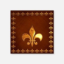 Old Leather with gold Fleur-de-Lys Square Sticker