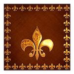 Old Leather with gold Fleur-de-Lys Square Car Magn