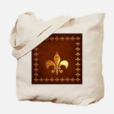 Old Leather with gold Fleur-de-Lys Tote Bag