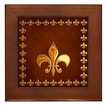 Old Leather with gold Fleur-de-Lys Framed Tile
