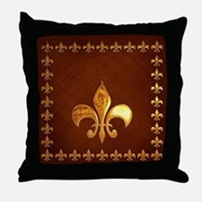 Old Leather with gold Fleur-de-Lys Throw Pillow