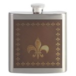 Old Leather with gold Fleur-de-Lys Flask