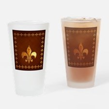 Old Leather with gold Fleur-de-Lys Drinking Glass