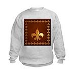 Old Leather with gold Fleur-de-Lys Kids Sweatshirt