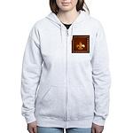 Old Leather with gold Fleur-de-Lys Women's Zip Hoo