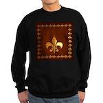 Old Leather with gold Fleur-de-Lys Sweatshirt (dar