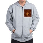 Old Leather with gold Fleur-de-Lys Zip Hoodie