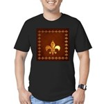 Old Leather with gold Fleur-de-Lys Men's Fitted T-