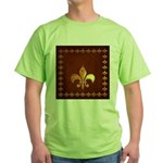 Old Leather with gold Fleur-de-Lys Green T-Shirt