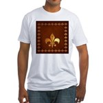 Old Leather with gold Fleur-de-Lys Fitted T-Shirt
