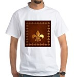 Old Leather with gold Fleur-de-Lys White T-Shirt