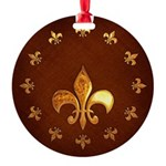 Old Leather with gold Fleur-de-Lys Round Ornament