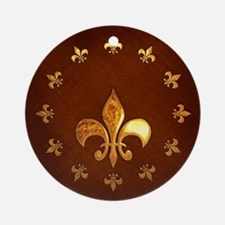 Old Leather with gold Fleur-de-Lys Ornament (Round