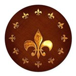 Old Leather with gold Fleur-de-Lys Round Car Magne