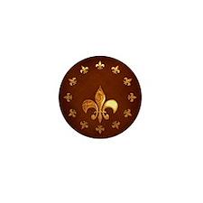 Old Leather with gold Fleur-de-Lys Mini Button