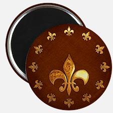 Old Leather with gold Fleur-de-Lys Magnet