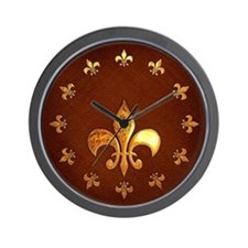 Old Leather with gold Fleur-de-Lys Wall Clock