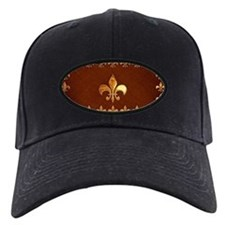 Old Leather with gold Fleur-de-Lys Baseball Hat