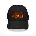 Old Leather with gold Fleur-de-Lys Black Cap