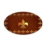 Old Leather with gold Fleur-de-Lys Oval Car Magnet