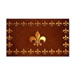 Old Leather with gold Fleur-de-Lys 20x12 Wall Deca