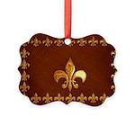 Old Leather with gold Fleur-de-Lys Picture Ornamen