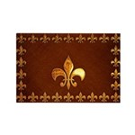 Old Leather with gold Fleur-de-Lys Rectangle Magne