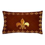 Old Leather with gold Fleur-de-Lys Pillow Case