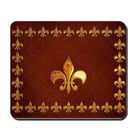 Old Leather with gold Fleur-de-Lys Mousepad