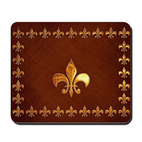 Old Leather With Gold Fleur De Lys Mousepad