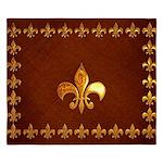 Old Leather with gold Fleur-de-Lys King Duvet