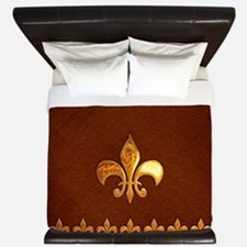 Old Leather with gold Fleur-de-Lys King Duvet