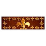 Old Leather with gold Fleur-de-Lys Sticker (Bumper