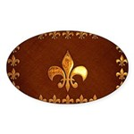Old Leather with gold Fleur-de-Lys Sticker (Oval 5