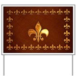 Old Leather with gold Fleur-de-Lys Yard Sign