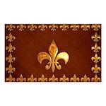 Old Leather with gold Fleur-de-Lys Sticker (Rectan