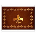 Old Leather with gold Fleur-de-Lys Small Poster