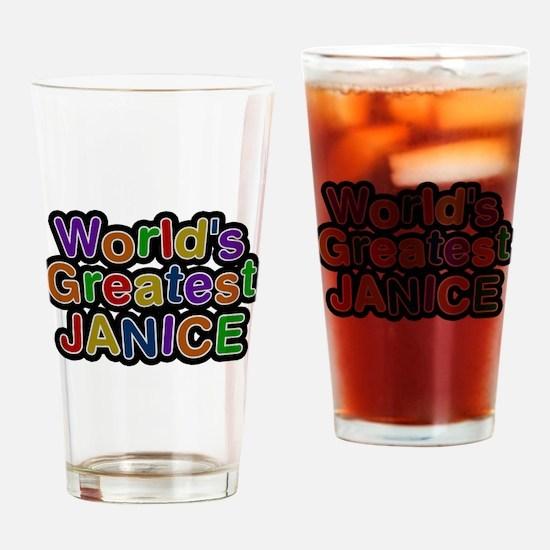 Worlds Greatest Janice Drinking Glass