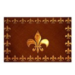 Old Leather with gold Fleur-de-Lys Postcards (Pack