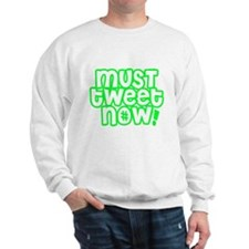 MUST tweet NOW green white outline Sweater