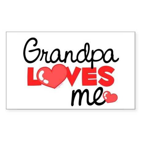 Grandpa Love Me (red) Rectangle Sticker