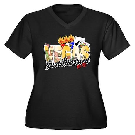 Vegas Just M Women's Plus Size V-Neck Dark T-Shirt